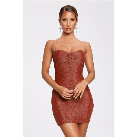 Brown Glitter Ruched Bust Criss Cross Back Skinny Dress