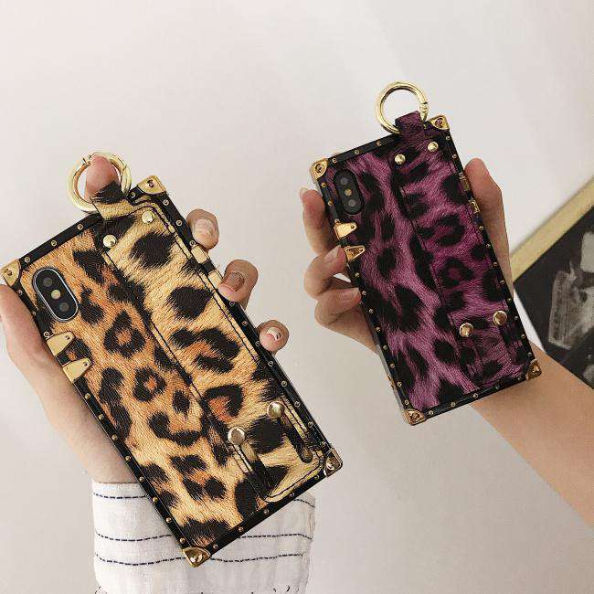 Square Leopard iPhone Case with Wrist Strap