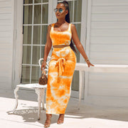 Tie Dye Knot Front Square Neck Top & Skirt Set