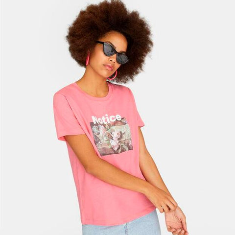 Pink Short Sleeve Print Fitted Tee gallery 2