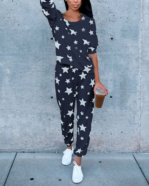 Star Print Long Sleeve Round Neck Top & Pants Set