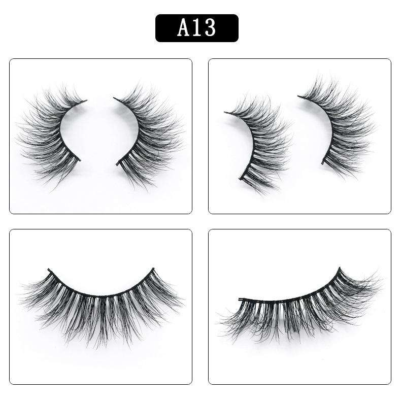 Mink Hair Natural Fake Eyelashes Cross Thick Eye Lashes 1Pair A13
