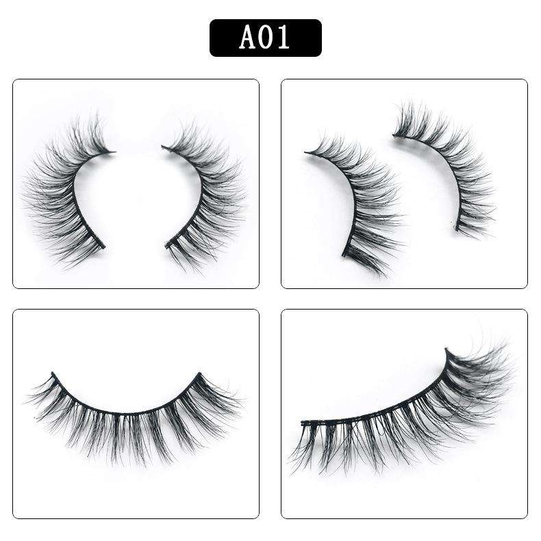 Mink Hair Natural Fake Eyelashes Cross Thick Eye Lashes 1Pair A01