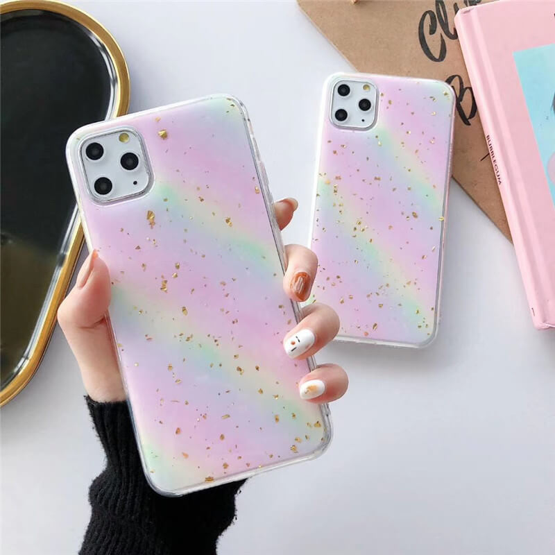 Rainbow Pattern Glittering Sequins Decorated iPhone Case
