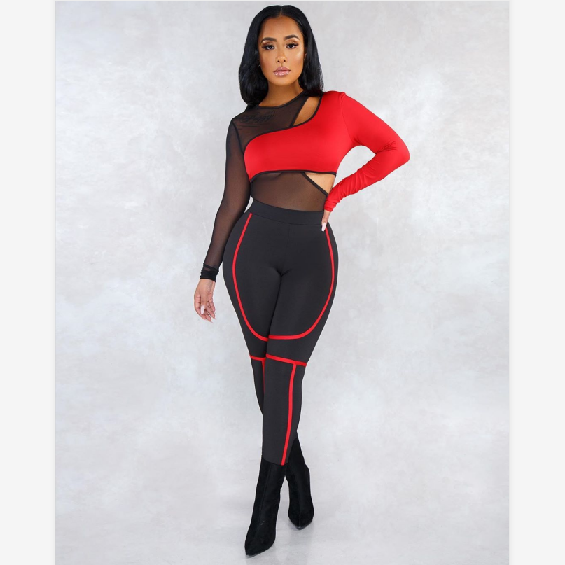 Mesh Overlay Contrast Color Cut Out Bodysuit & Pant Set