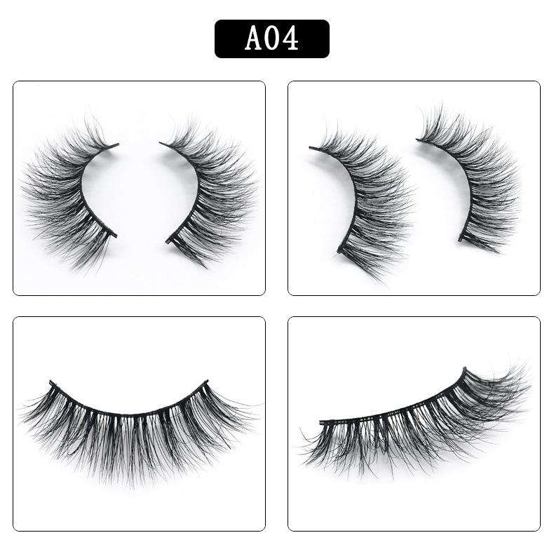 Mink Hair Natural Fake Eyelashes Cross Thick Eye Lashes 1Pair A04