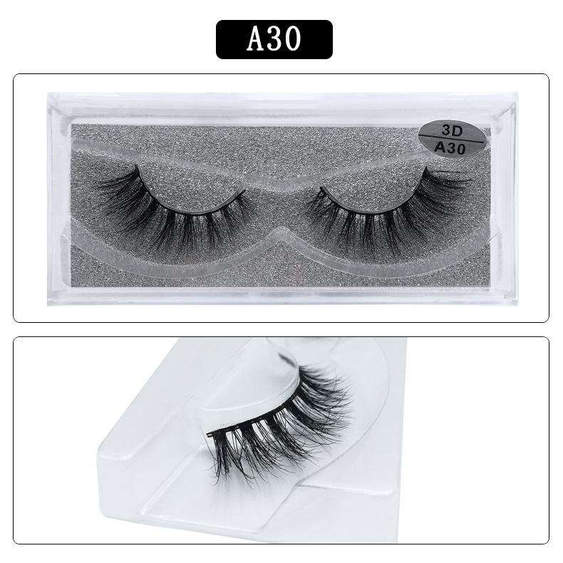 Mink Hair Natural Fake Eyelashes Cross Thick Eye Lashes 1Pair A30