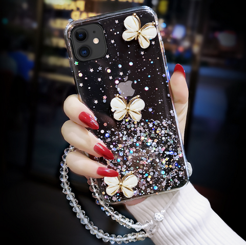 Sparkle Liquid Rhinestone Butterfly Phone Case for Samsung gallery 6
