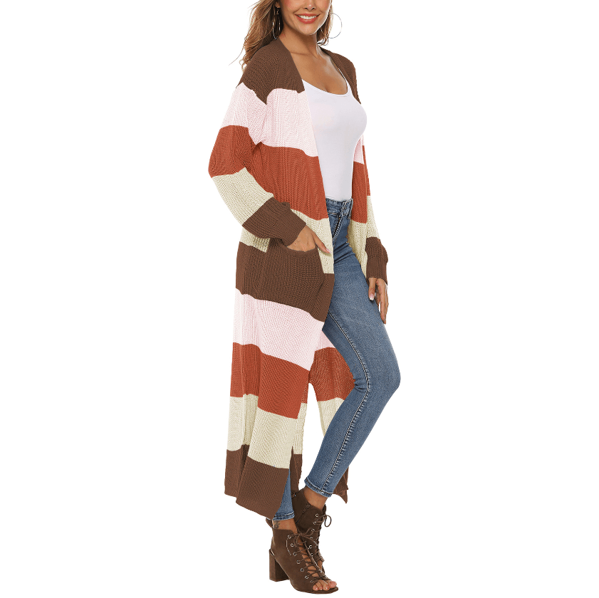 Color Block Pocket Front Split Side Maxi Knitted Cardigan