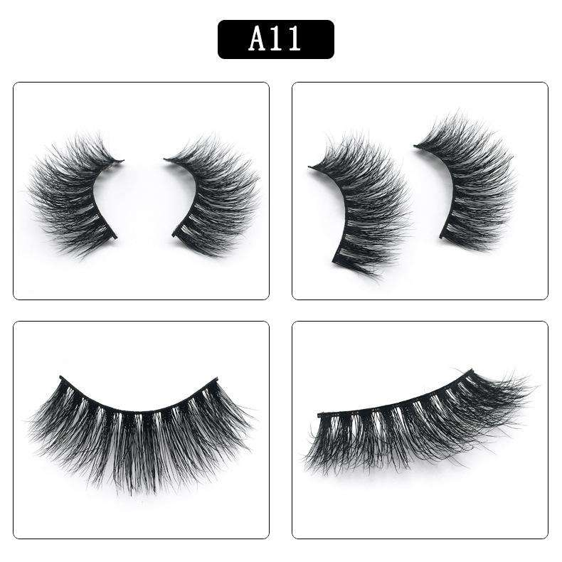 Mink Hair Natural Fake Eyelashes Cross Thick Eye Lashes 1Pair A11