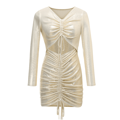 Metallic Cut Out Front Drawstring Ruched Mini Bodycon Dress gallery 3