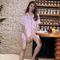 Patchwork Vertical Stripe Satin Sleepwear Pajamas Set