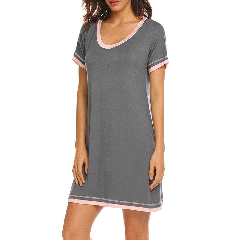 V-Neck Contrast Color Lounge Dress