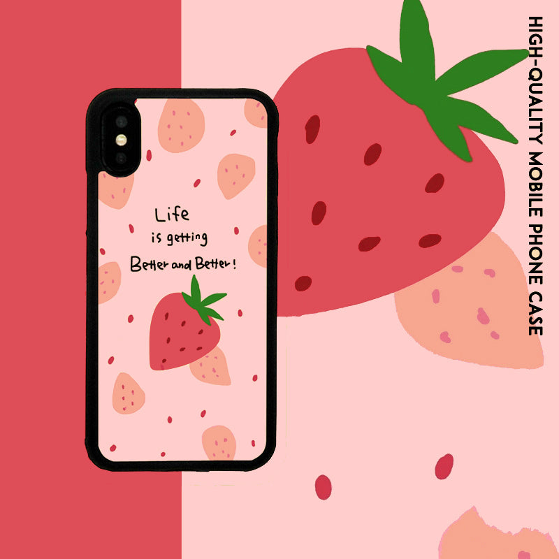 Cute Pink Strawberry with Slogan Print iPhone Case