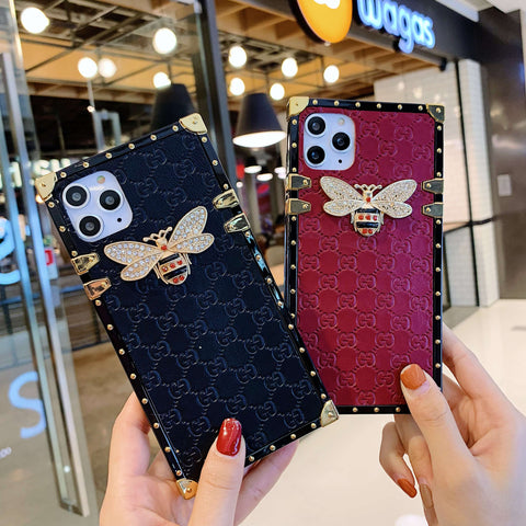 Rivet Trim Metal Bee Deco Square Phone Case for Samsung gallery 6