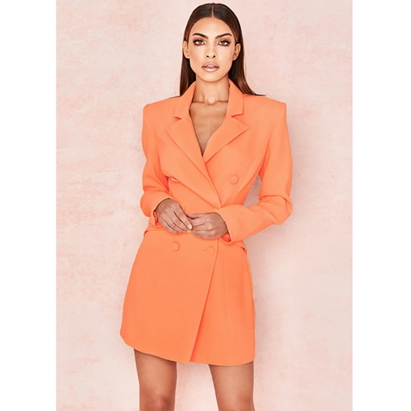 Neon Orange Slim Fitted Long Blazer