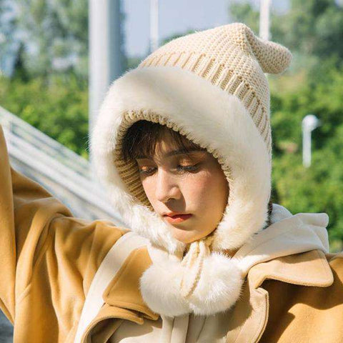 Women's Winter Cute Thick Conical Ear hat gallery 1