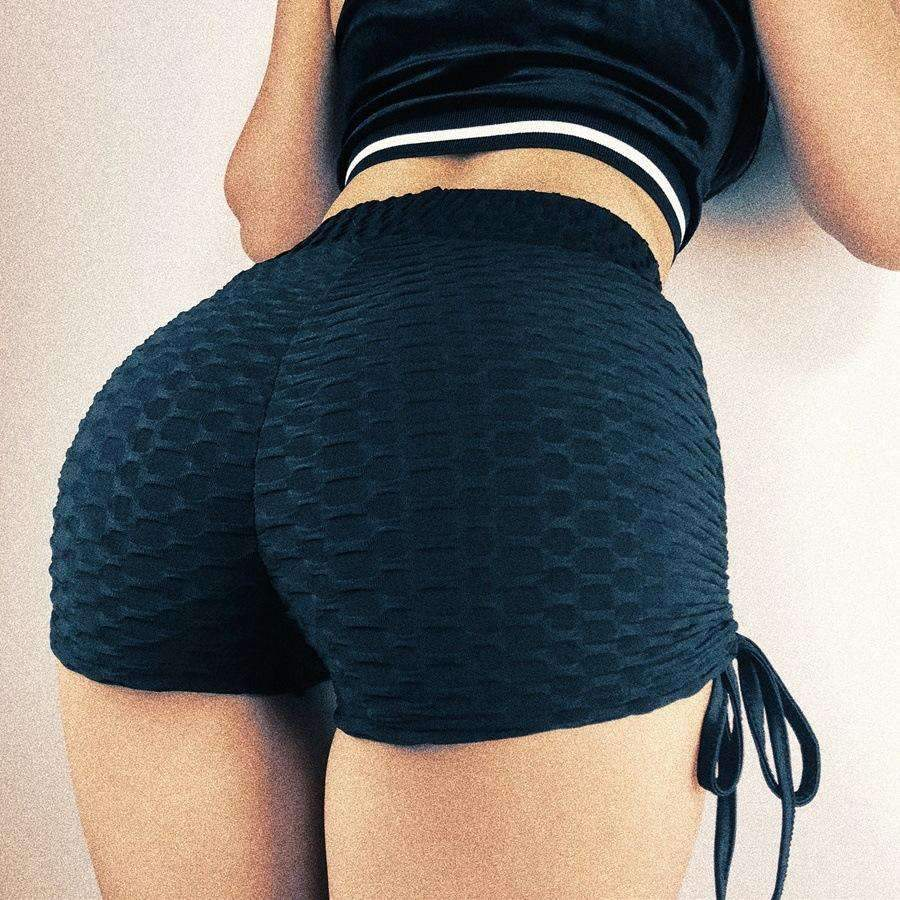 Side Tie Bandage Hip Lifting Sports Yoga Shorts