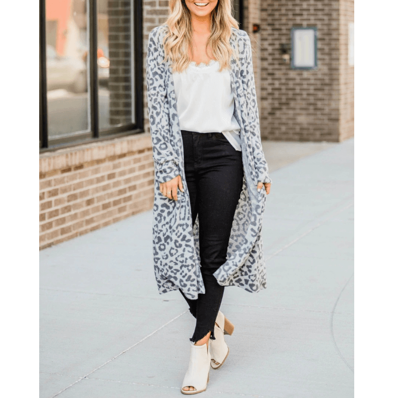 Cozy 3 Colors Leopard Print Pocket Front Midi Cardigan