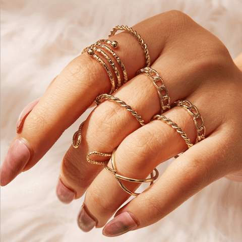 2 Colors Twisted Chain Ring Set of 8