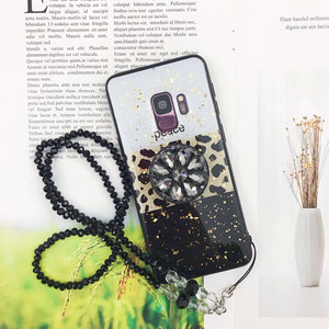 Luxury Leopard Phone Case for Samsung with Phone Holder and Hand Strap