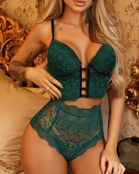 Floral Lace Tie Back Hollow Out Lingerie Set