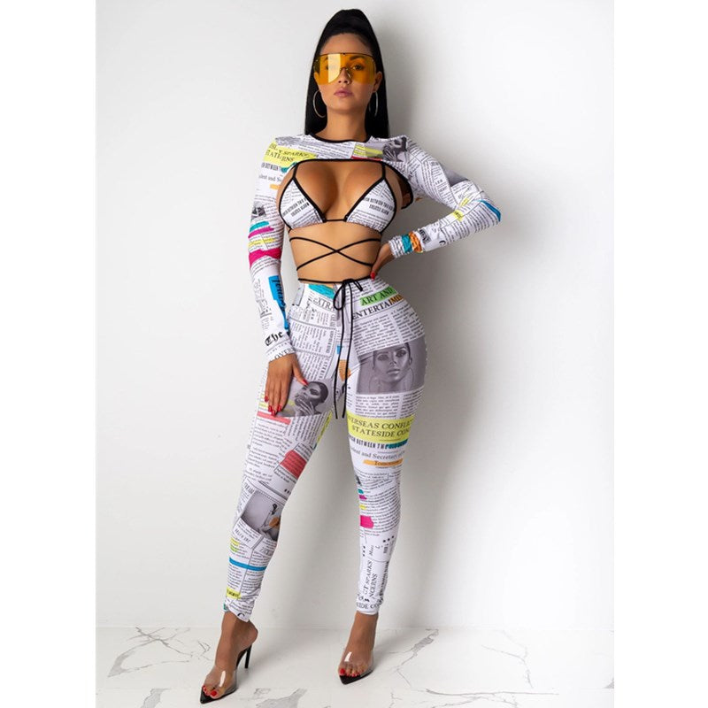 Newspaper Print Lace-Up Long Sleeve Top & Pant Set