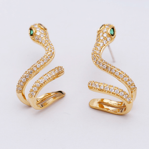 2 Colors Twisted Snake Diamante Earrings