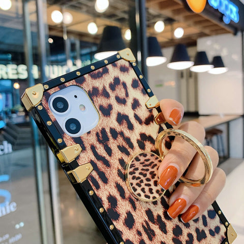 Leopard Print Rivet Deco Square Phone Case for Samsung with Phone Holder gallery 8