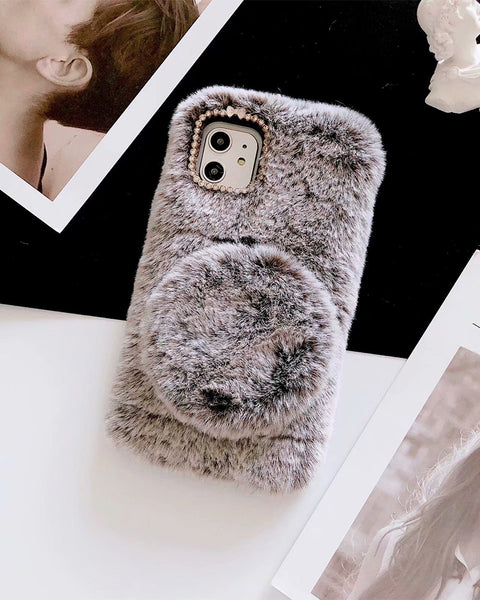 Fluffy Vanity Mirror Decorated iPhone Case
