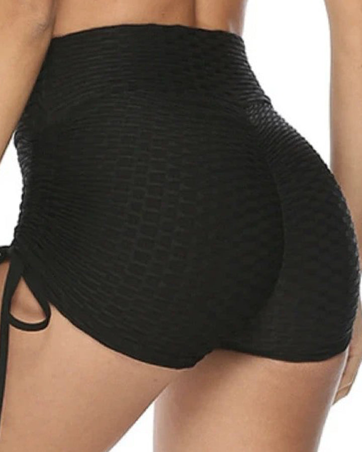 Solid Textured Tie Side Butt Lifting Shorts gallery 9