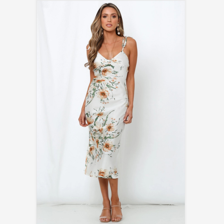 Floral Print Satin V-Neck Tied Shoulder Midi Dress