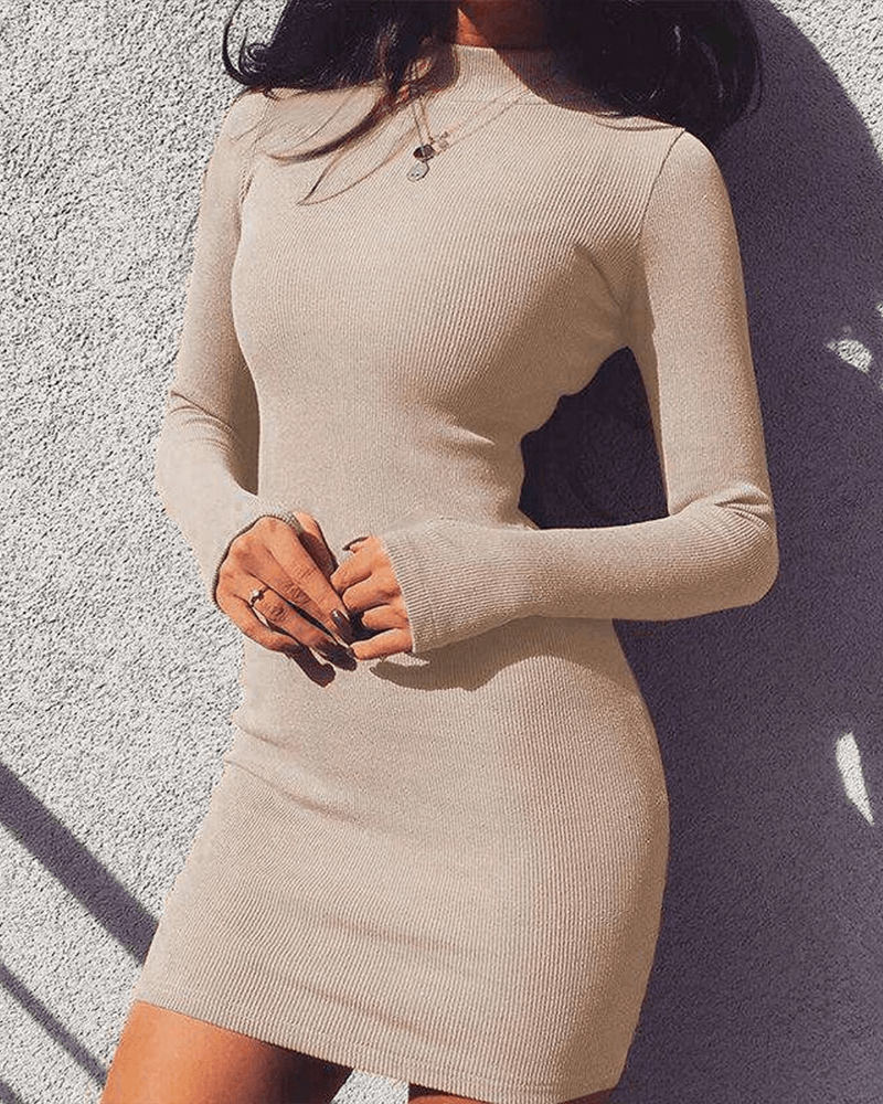 Jersey High Neck Long Sleeve Mini Dress