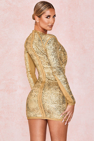 Elegant Gold Glitter Sequin Round Neck Ruched Dress