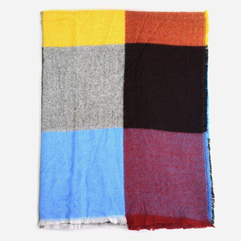 Multicolored Oversized Patchwork Scarf With Frayed Edges, Multifuntional Fashionable Winter Check Muffle gallery 3