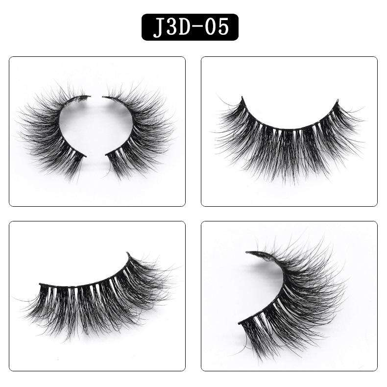 Mink Hair Natural Fake Eyelashes Cross Thick Eye Lashes 1Pair J3D-05