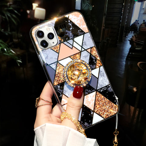 Glittering Rhombus iPhone Case with Phone Holder and Hand Strap