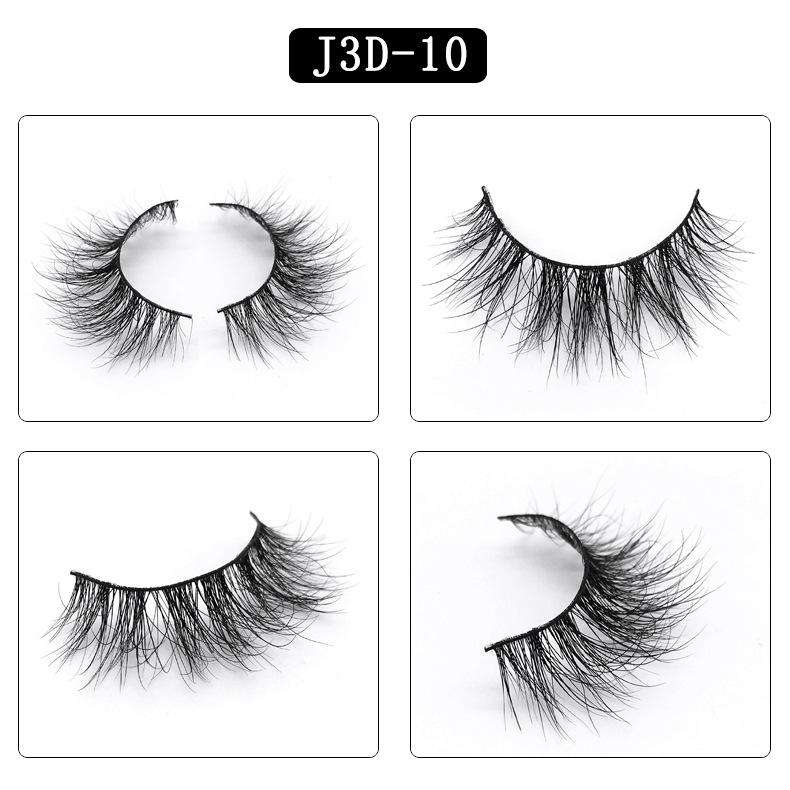 Mink Hair Natural Fake Eyelashes Cross Thick Eye Lashes 1Pair J3D-10