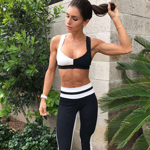 Patchwork Sports Bra & High Waist Pants Leggings Yoga Set