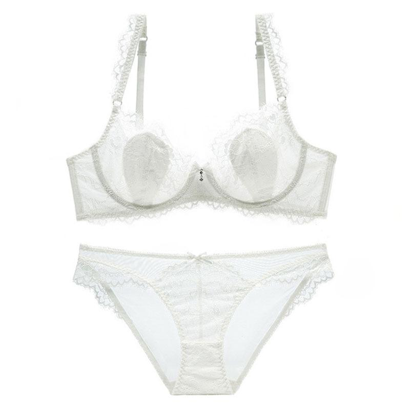 Enticing Lace-trim Push-up Sheer Mesh Underwire Bra & Panty Set