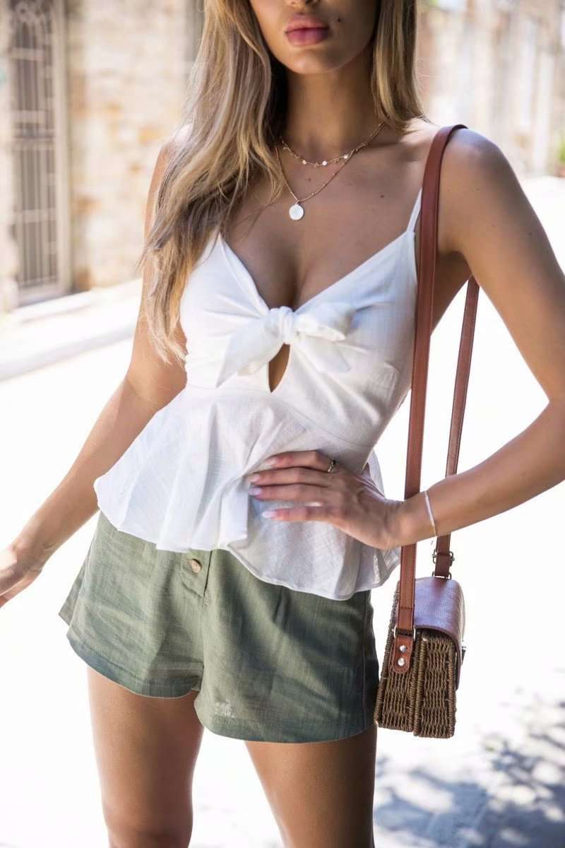 White Frill Detail Key Hole Cami Top