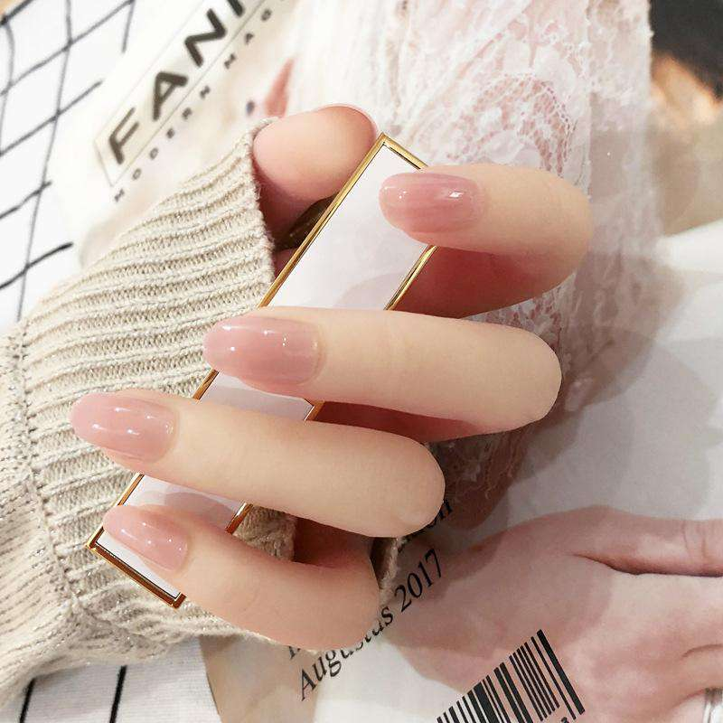 Semi Transparent Nude Pink Magic Press On Nail Manicure