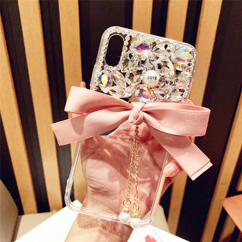 Bowknot Half Transparent & Rhinestone Phone Case for Samsung gallery 4