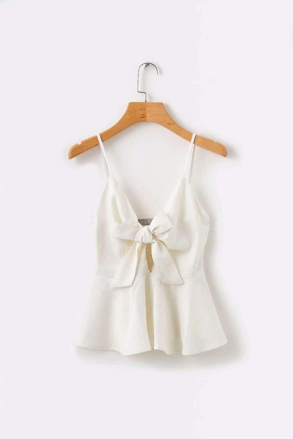 Bow Knot Front With Ruffle Side Cami Top