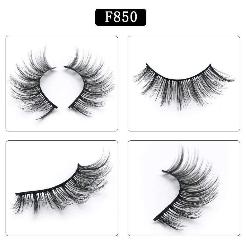 5 Pairs Mink Hair False Fake Eyelashes Cross Thick Eye Lashes F850
