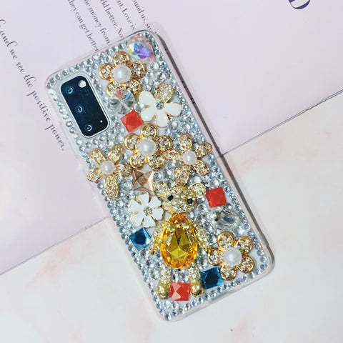 Luxury Floral Full Rhinestone Cover Phone Case for Samsung gallery 1