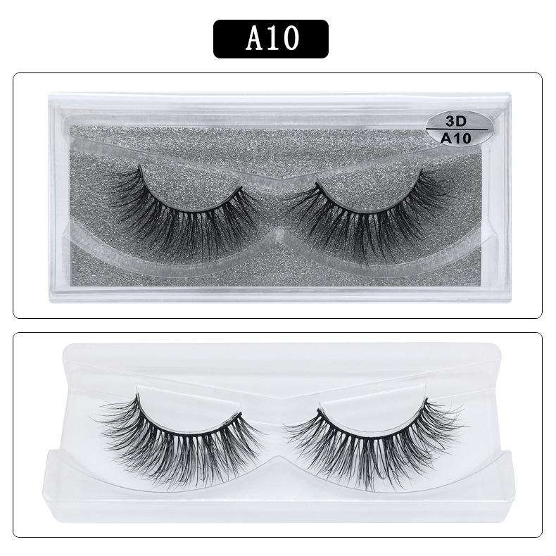 Mink Hair Natural Fake Eyelashes Cross Thick Eye Lashes 1Pair A10