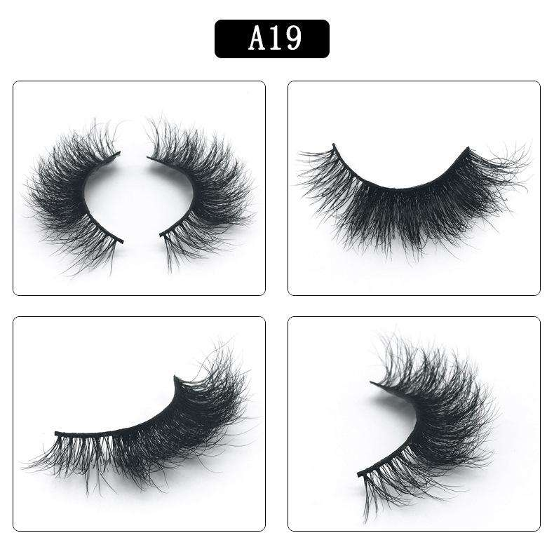 Mink Hair Natural Fake Eyelashes Cross Thick Eye Lashes 1Pair A19