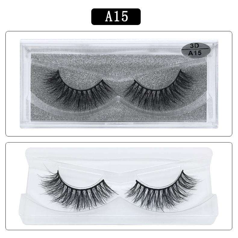 Mink Hair Natural Fake Eyelashes Cross Thick Eye Lashes 1Pair A15