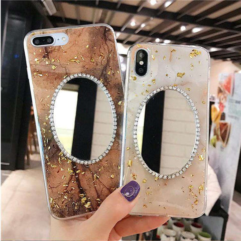 Sparkling Powder Print With Mirror Phone Case For All Apple Phone
